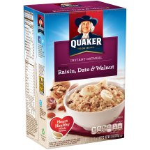 Quaker Raisin Date & Walnut Instant Oatmeal, 10 Count, 1.3 oz Packets