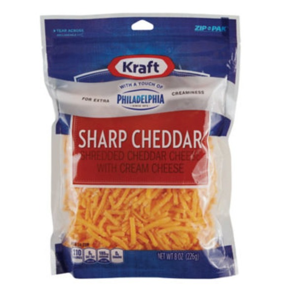 Shredded Sharp Cheddar with a Touch of Philadelphia Cheese
