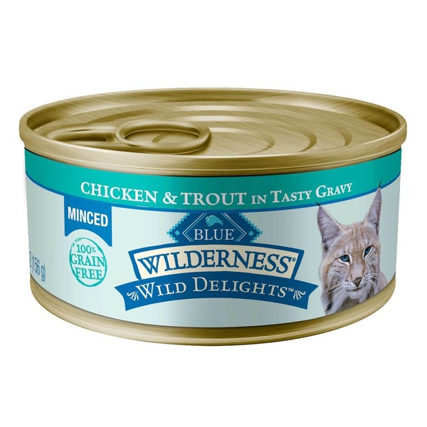 Blue Buffalo Cat Food, Moist, Chicken & Trout, Minced, Wilderness, Can