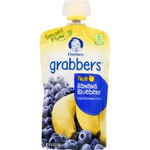 Gerber Grabbers Fruit Squeezable Puree, Banana Blueberry, 4.23 oz Pouch