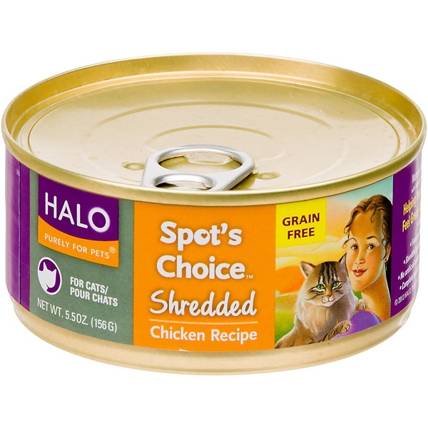 Halo Purely For Pets Wholesome Chicken Recipe Shredded Cat Food