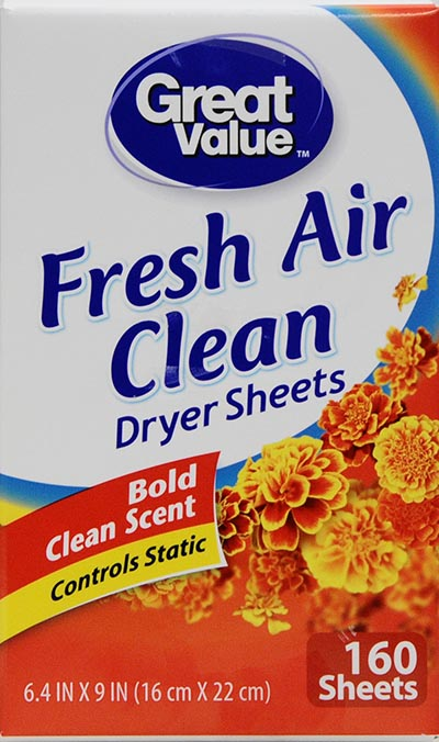 Great Value Fresh Air Clean Fabric Softener Dryer Sheets