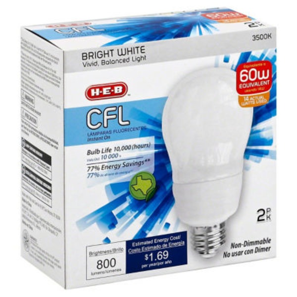 H-E-B 14 W A19 Cfl Bright White Light Bulbs