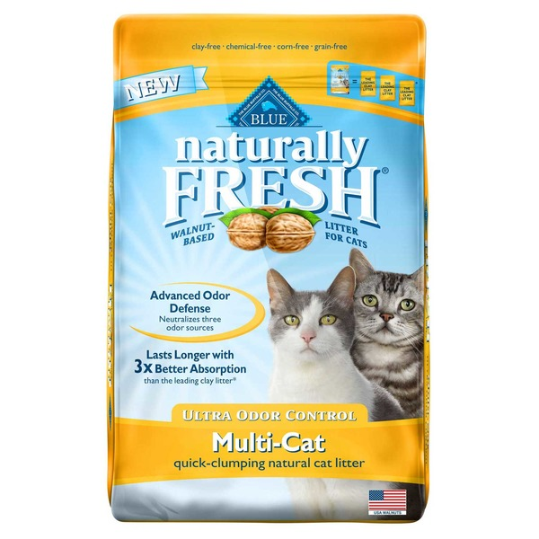 Blue Buffalo Naturally Fresh Walnut-Based Litter for Cats Ultra Odor Control Multi-Cat Quick-Clumping Natural Cat Litter