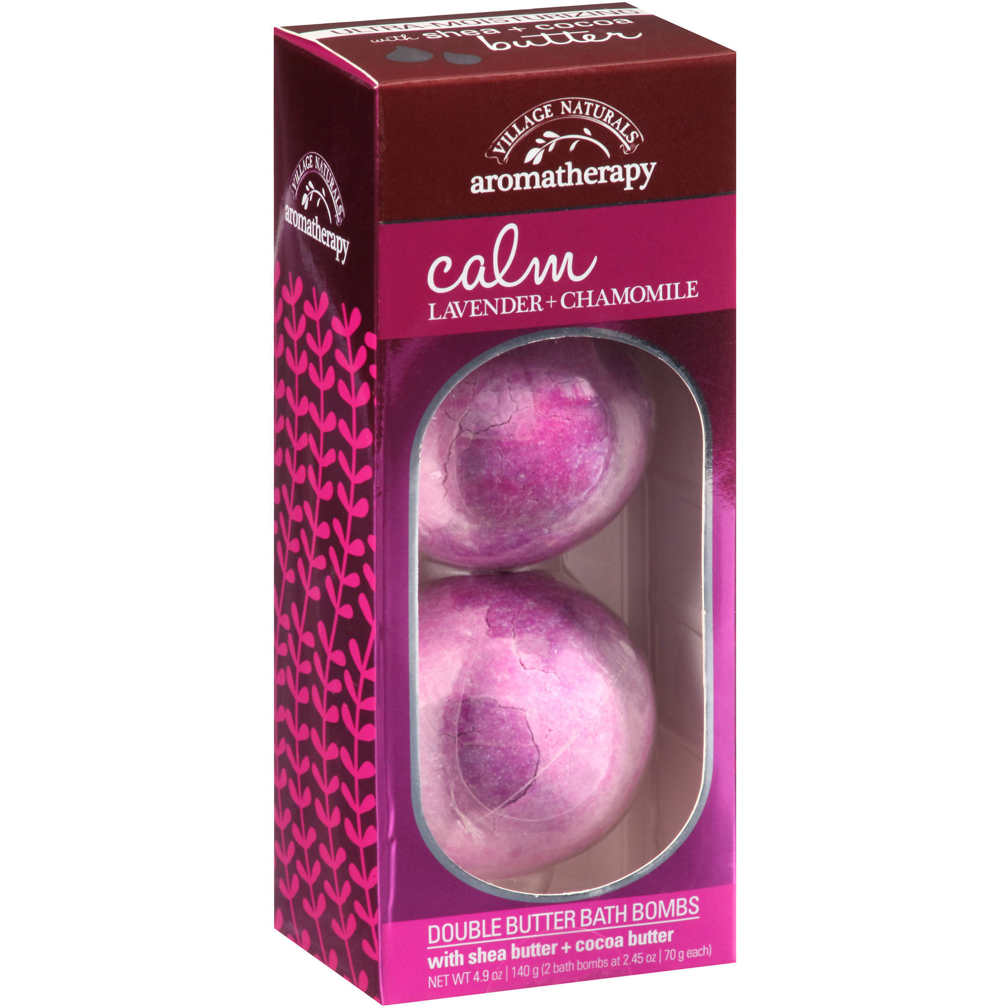 Village Naturals Aromatherapy Calm Lavender + Chamomile Double Butter Bath Bombs