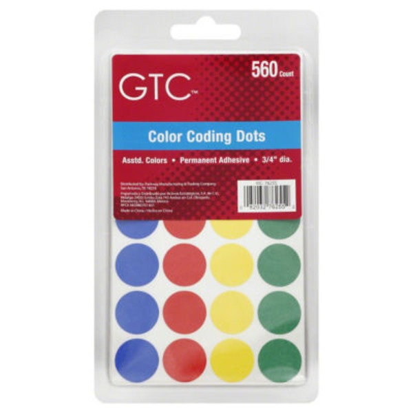 GTC Assorted Color Coding Dots