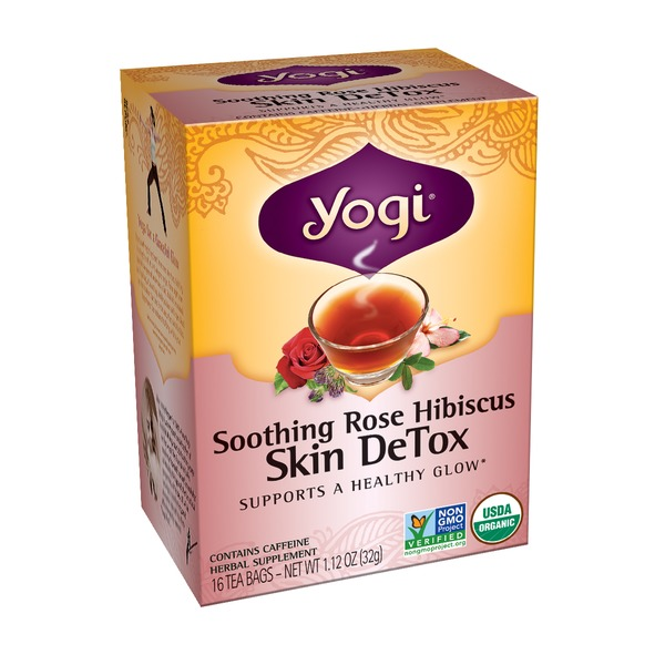 Yogi Soothing Rose Hibiscus Skin Detox Herbal Supplement Tea