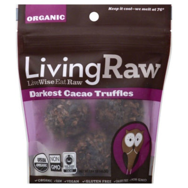 Living Raw Truffles, Organic, Darkest Cacao