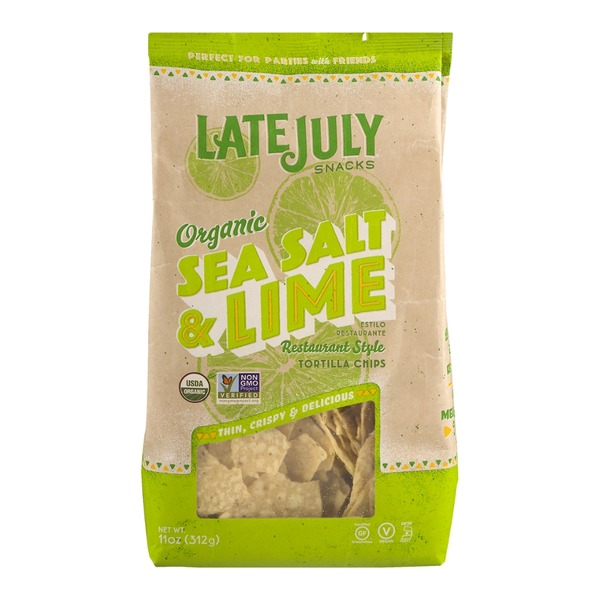 Late July Snacks Organic Restaurant Style Tortilla Chips Sea Salt & Lime
