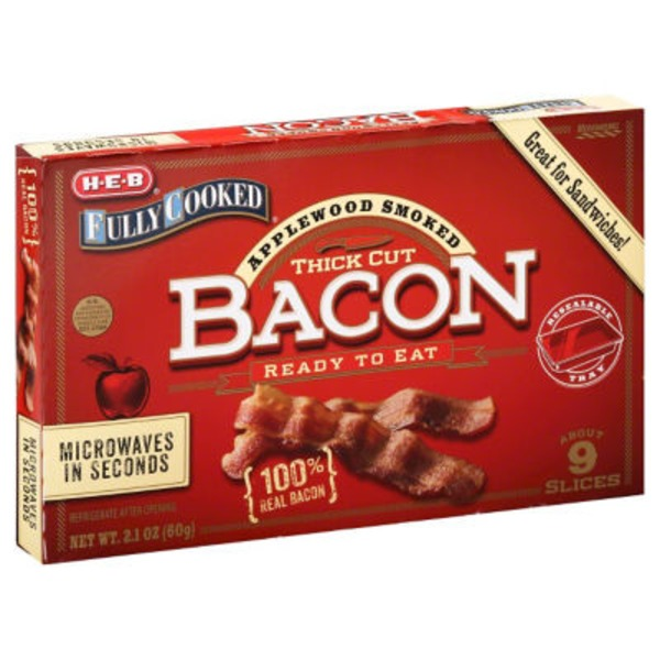 H-E-B Fully Cooked Applewood Thick Bacon