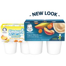 Gerber Yogurt Blends Snack, Carrot Peach Mango, 3.5 oz Cups, 4 Count
