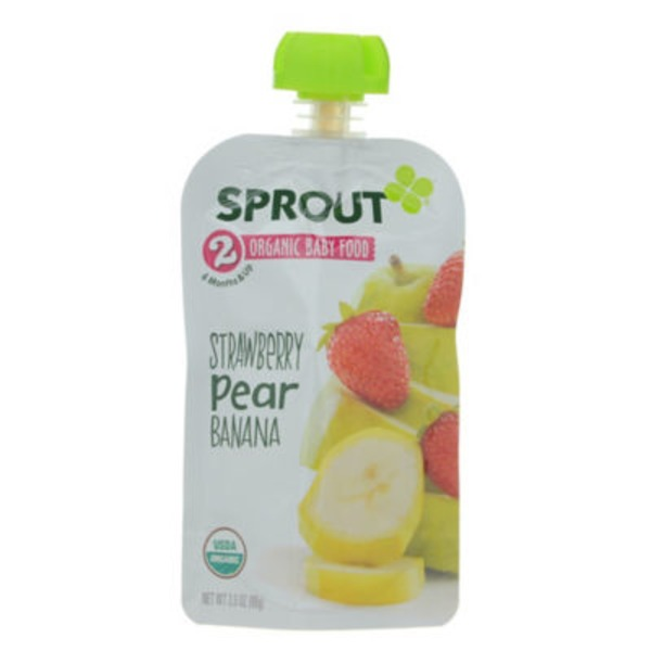 Sprouts 2 Organic Baby Food, Strawberry, Pear, Banana