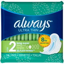 Always Ultra Thin Pads with Wings, Long, Super, 16 Count