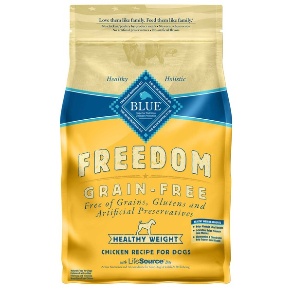 Blue Buffalo Food for Dogs, Natural, Grain-Free, Healthy Weight, Chicken Recipe