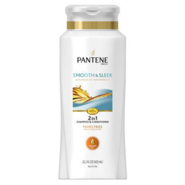 Pantene Frizzy to Smooth Pantene Pro-V Smooth and Sleek 2in1 Smoothing Shampoo and Conditioner 21.1 fl oz  Female Hair Care