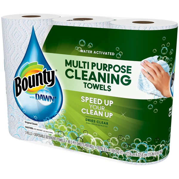 Bounty Basic With Dawn Bounty with Dawn, White, 3 Large Rolls Towels/Napkins