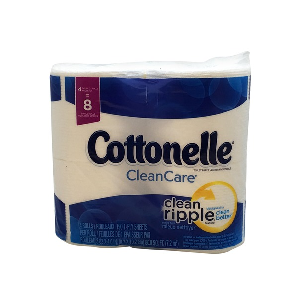 Kleenex Cottonelle Toilet Paper, Double Rolls, 1-Ply, Clean Care, Bag