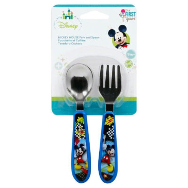 Disney Mickey Mouse 9m+ Fork and Spoon