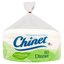 Chinet Dinner Classic White Plates, 10 3/8', 80 Count