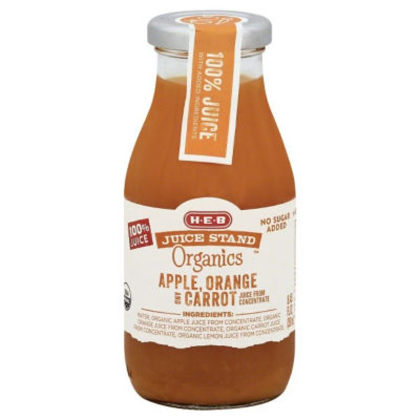 H-E-B Juice Stand Organics Apple, Orange & Carrot Juice