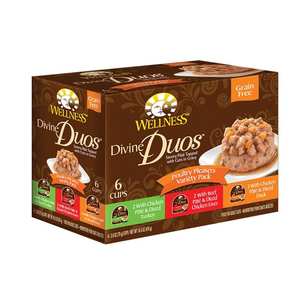 Wellness Divine Duos Poultry Pleasers Variety Pack Grain Free Wet Cat Food Case Of 6