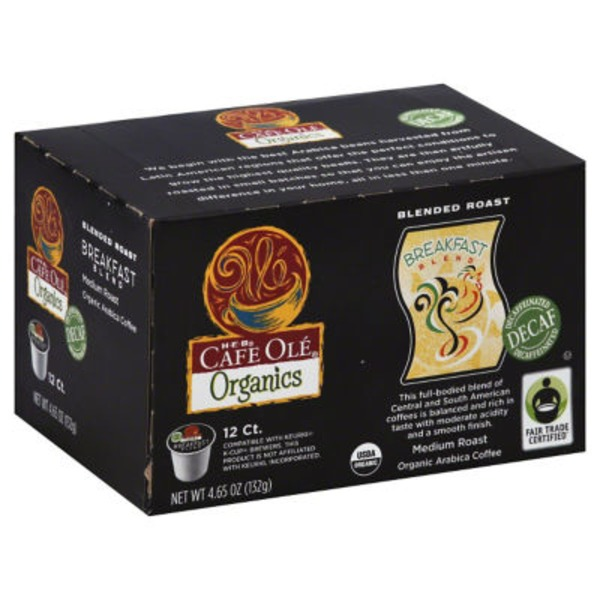 H-E-B Cafe Olé Organics Decaf Breakfast Blend Coffee K Cups