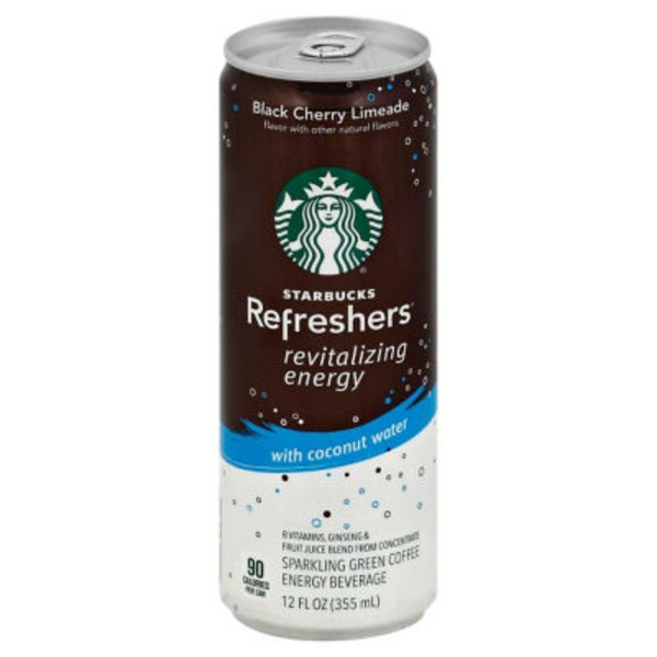 Starbucks Refreshers Black Cherry Limeade Sparkling Green Coffee Energy Drink