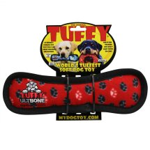 Red Dog Tuffy Red Dog Bone Dog Toy, Multicolor