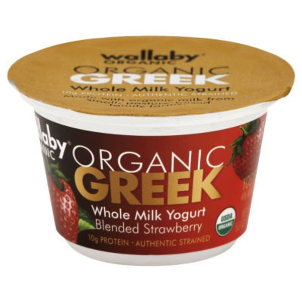 Wallaby Organic Organic Greek Whole Milk Blended Strawberry Yogurt