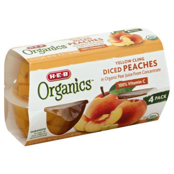 H-E-B Organics Diced Peaches Cup