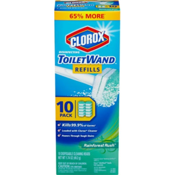 Clorox Disinfecting Toilet Wand Refills Rainforest Rush - 10 CT