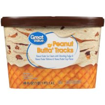 Great Value Peanut Butta Tracks Ice Cream, 48 fl oz