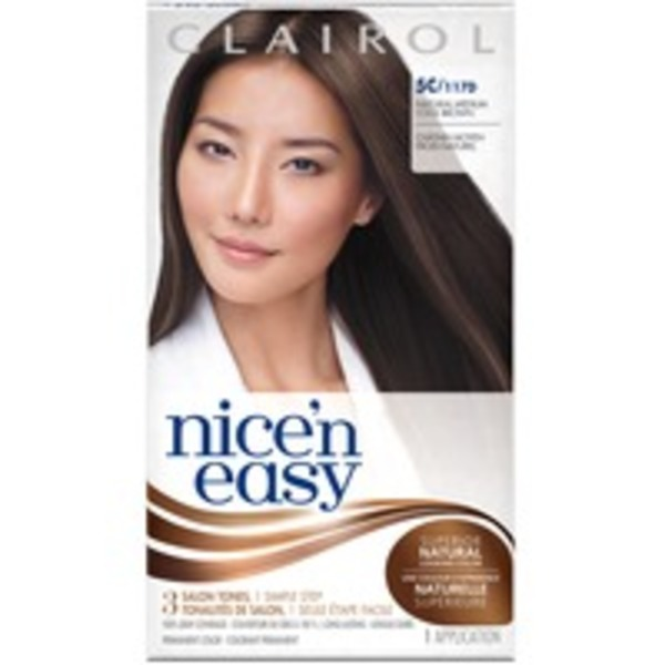 Clairol Nice 'n Easy, 5C/117D Natural Medium Cool Brown, Permanent Hair Color, 1 Kit Female Hair Color