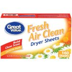 Great Value Dryer Sheets, Fresh Air Clean, 160 Count