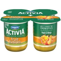 Activia Fruit Fusion Peach/Mango Lowfat Yogurt, 4 oz, 4 ct