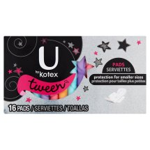 U by Kotex Tween Pads, 16 count