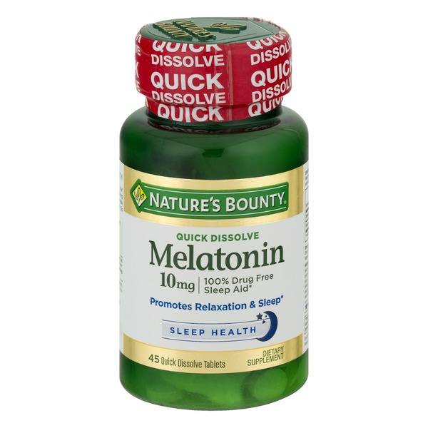 Nature's Bounty Melatonin 10mg, Maximum Strength, Quick Dissolve Tablets, Cherry