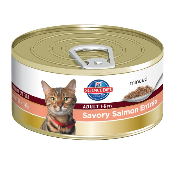 Hill's Science Diet Adult 1-6 yrs Minced Savory Salmon Entree Canned Cat Food