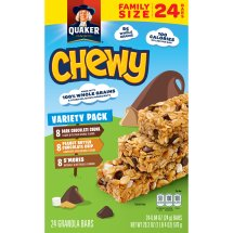 Quaker Chewy Granola Bars Variety Pack, 24 Count, 0.84 oz Bars
