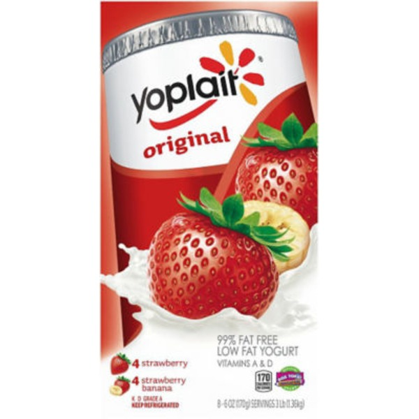 Yoplait Original Strawberry/Strawberry Banana Variety Pack Low Fat Yogurt