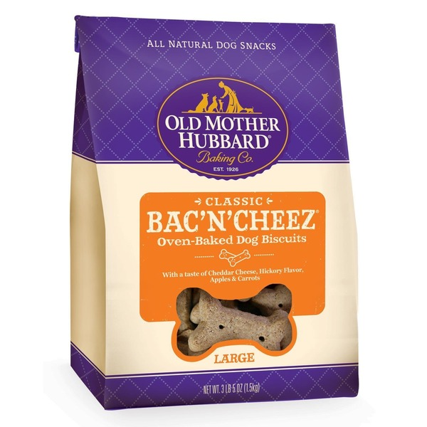 Old Mother Hubbard Baking Co. Classic Bac' N' Cheez, oven baked dog biscuits with taste of cheddar hickory flavor, Apples and carrots