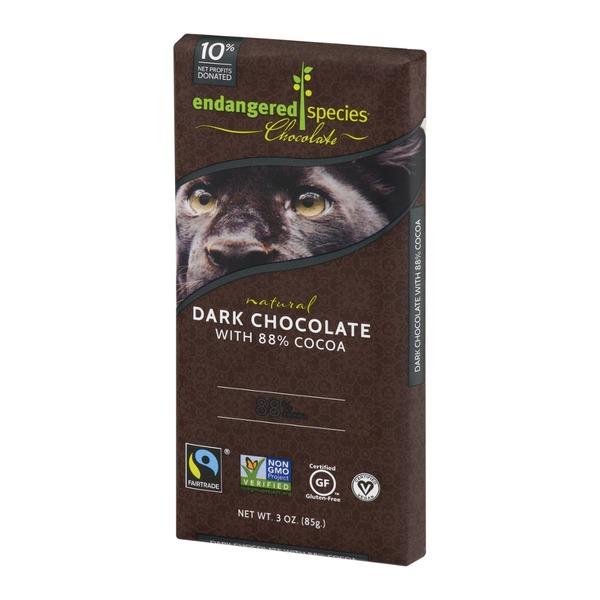 Endangered Species Chocolate Bar Natural Dark Chocolate With 88% Cocoa