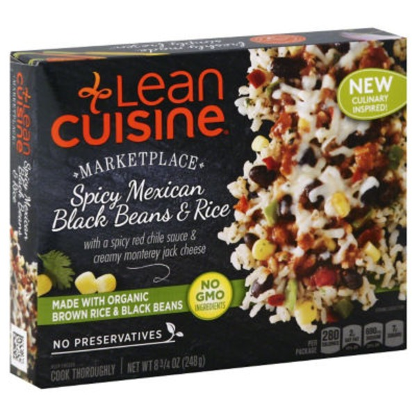 Lean Cuisine Marketplace With A Spicy Red Chile Sauce & Creamy Monterrey Jack Cheese Spicy Mexican Black Beans & Rice