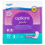 Equate Options Incontinence Pads for Women, Light, Regular Length, 30 Ct