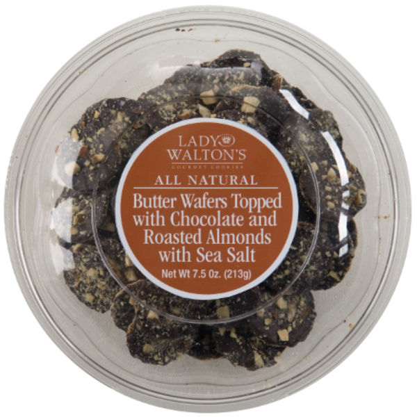 Lady Walton's All Natural Butter Wafers Topped With Chocolate, Roasted Almonds, And Sea Salt