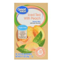 Great Value Drink Mix, Iced Tea with Peach, Decaffeinated, Sugar-Free, 0.71 oz, 10 Count