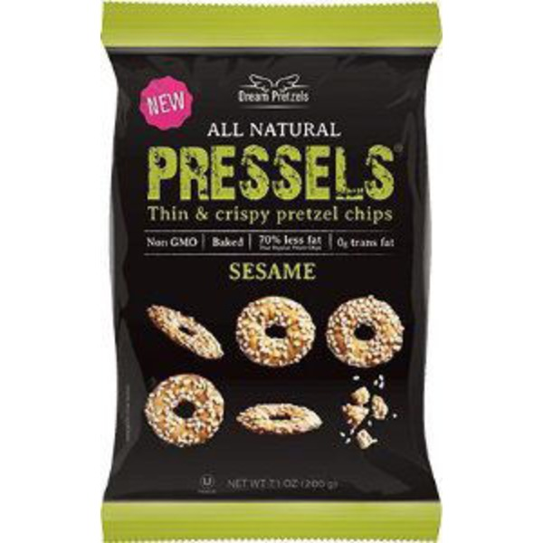 Dream Pretzels All Natural Pressels, Thin & Crispy Sesame Flavor Pretzel Chips