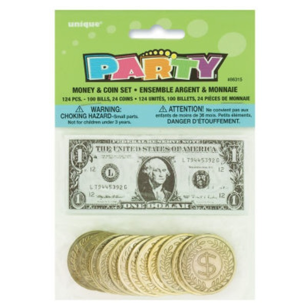 Unique Party Money & Coins Set