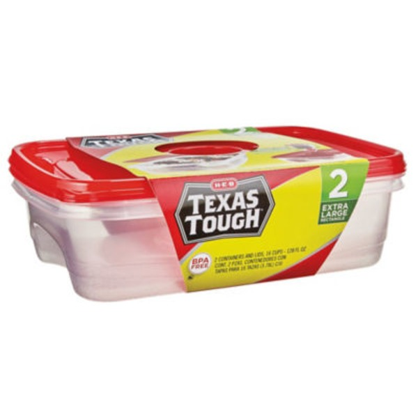 H-E-B Texas Tough Extra Large Rectangle Food Storage Containers