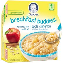 Gerber Breakfast Buddies Hot Cereal with Real Fruit, Apple Cinnamon, 4.5 oz Tray